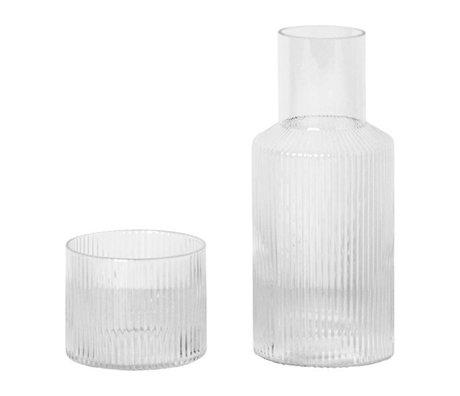 Ferm Living Carafe set Ripple transparent glass Ø7,6x17,9cm