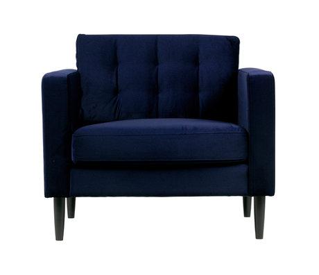 LEF collections Fauteuil Livia velours bleu nuit 94x86x80cm