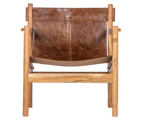 BePureHome Sessel Chill braun Leder Holz 68x72x75cm
