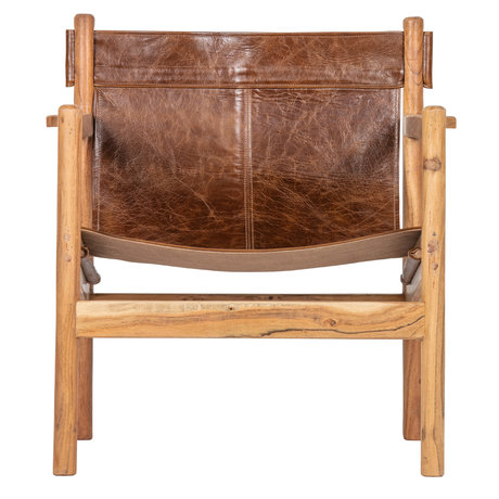 BePureHome Fauteuil Chill bruin leer hout 68x72x75cm