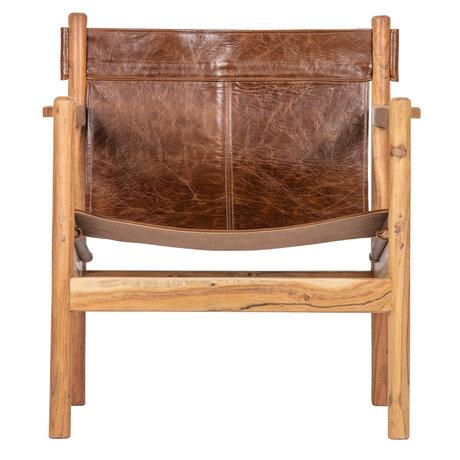 BePureHome Fauteuil Chill cuir marron bois 68x72x75cm