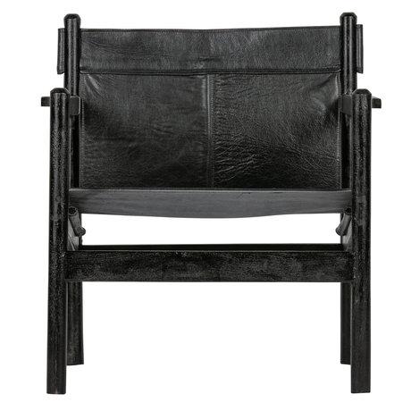 BePureHome Sessel Chill schwarz Leder Holz 68x72x75cm