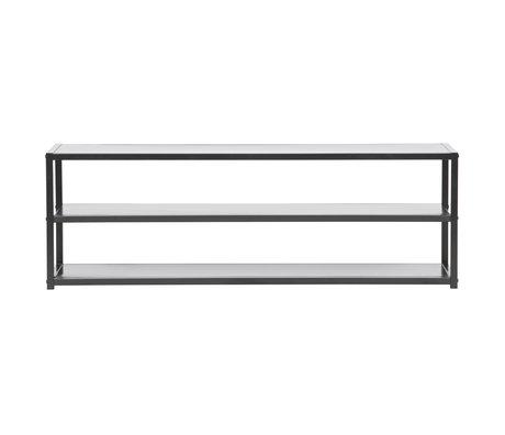 LEF collections Meuble de télévision Teun métal noir 120x35x40cm