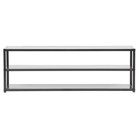 LEF collections Tv meubel Teun zwart metaal 120x35x40cm