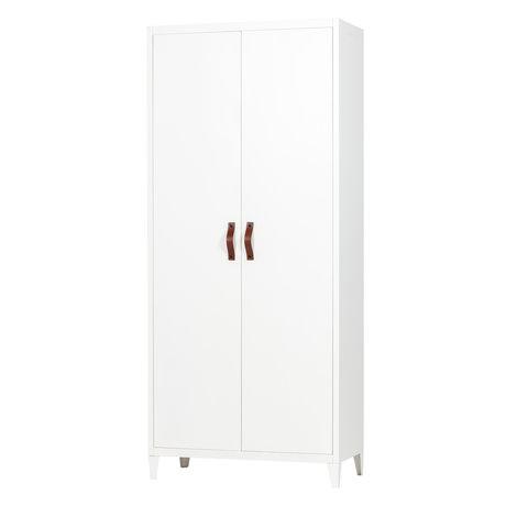 LEF collections Cupboard Brock white metal 2 doors 84x40x192cm