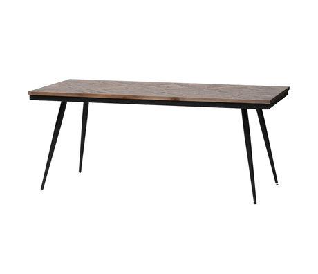 BePureHome Eettafel Rhombic bruin hout metaal 180x90x76cm