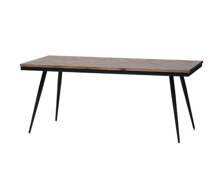 BePureHome Esstisch Rhombisch braun Holz Metall 180x90x76cm