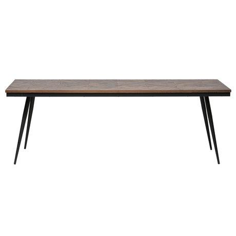 BePureHome Table à manger Rhombic bois brun métal 220x90x76cm