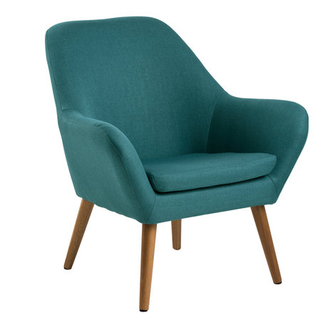 wonenmetlef Fauteuil Julian petrol blauw Corsica textiel hout 76x74x84,5cm
