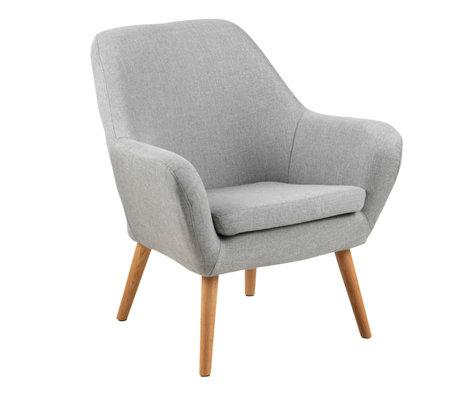wonenmetlef Armchair Julian light gray Corsica textile wood 76x74x84.5cm