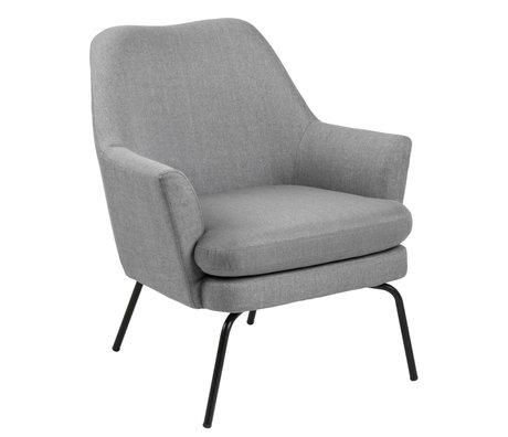 wonenmetlef Fauteuil Mose gris clair corse textile en métal 74x73x83cm