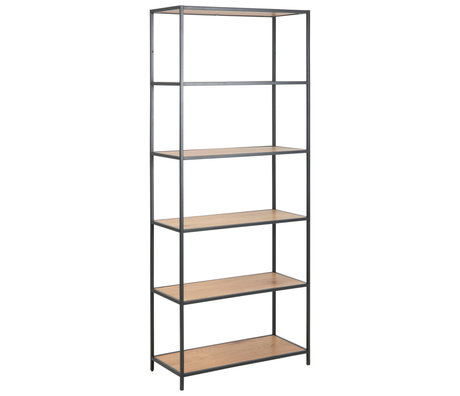 wonenmetlef Levi shelf unit natural brown black wood metal 4 shelves 77x35x185cm