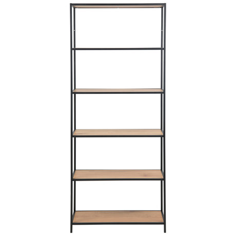 mister FRENKIE Levi shelf unit natural brown black wood metal 4 shelves 77x35x185cm