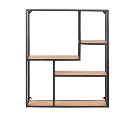 mister FRENKIE Vakkenkast Levi naturel bruin zwart hout metaal 3 planken 75x20x91cm