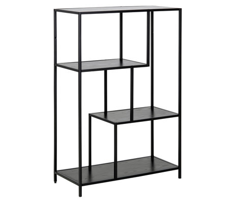 wonenmetlef Wardrobe Levi black wood metal 2 shelves 77x35x114cm