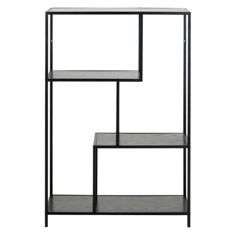 mister FRENKIE Wardrobe Levi black wood metal 2 shelves 77x35x114cm