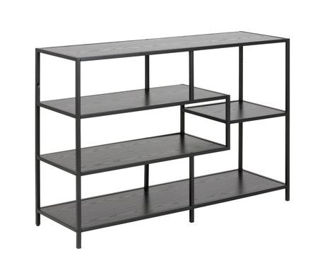 wonenmetlef Sidetable Levi black wood metal 3 shelves 114x35x78cm