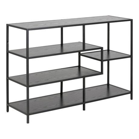 wonenmetlef Table d'appoint Levi en bois noir avec 3 étagères 114x35x78cm