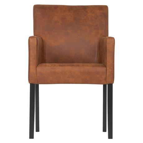 LEF collections Dining room chair Jasmine cognac brown velvet 56x64x88cm