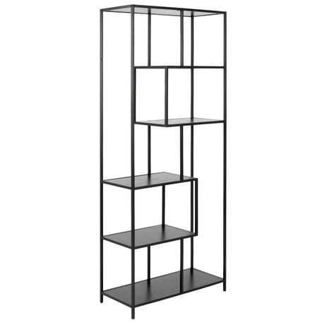 wonenmetlef Wardrobe Levi black wood metal 4 shelves 77x35x185cm
