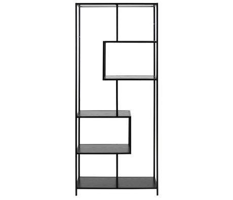 mister FRENKIE Armoire Levi bois noir métal 4 étagères 77x35x185cm