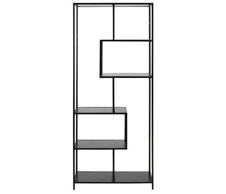 mister FRENKIE Vakkenkast Levi zwart hout metaal 4 planken 77x35x185cm