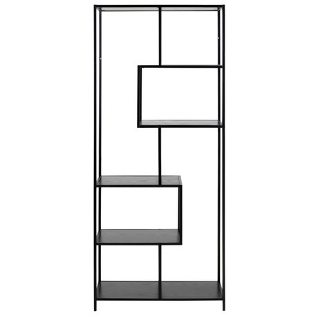 mister FRENKIE Wardrobe Levi black wood metal 4 shelves 77x35x185cm