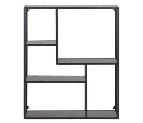 mister FRENKIE Wardrobe Levi black wood metal 3 shelves 75x20x91cm