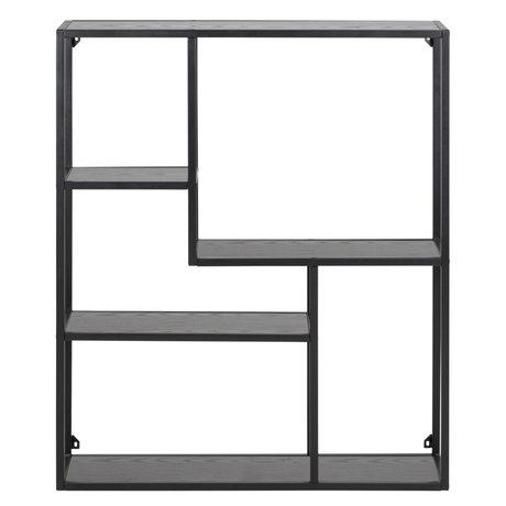 mister FRENKIE Armoire Levi bois noir métal 3 étagères 75x20x91cm