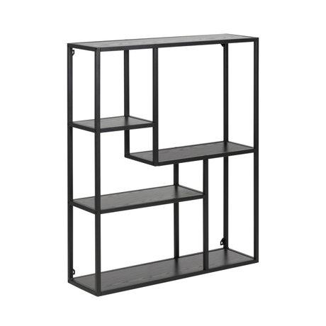 wonenmetlef Vakkenkast Levi zwart hout metaal 3 planken 75x20x91cm