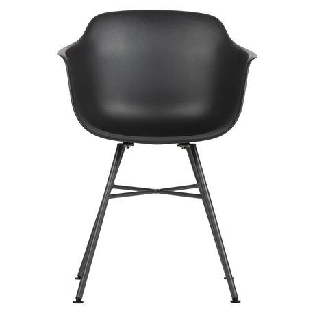 LEF collections Chaise de salle à manger en plastique gris anthracite Marly 57x53x80cm lot de 2