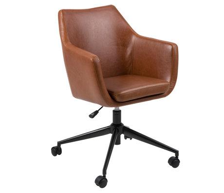 wonenmetlef Chaise de bureau Mia vintage en cuir PU brun métal 58x58x95cm