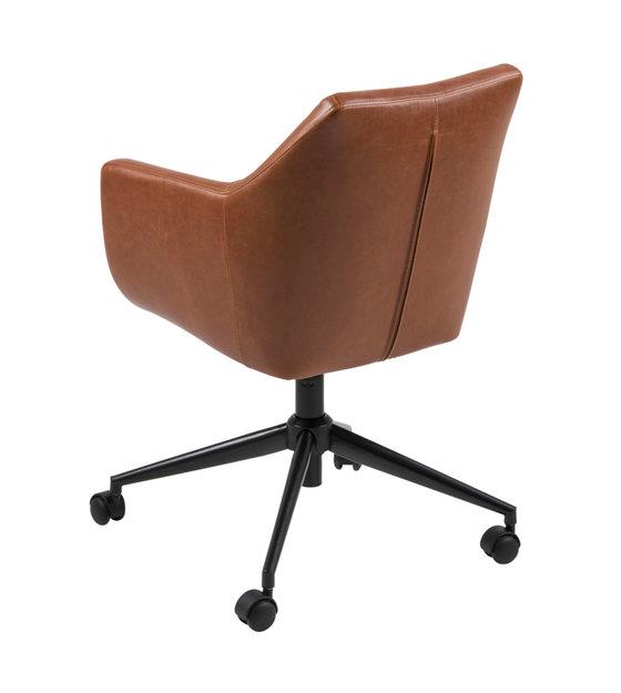Bureaustoel Bruin Leer.Bureaustoel Mia Vintage Bruin Pu Leer Metaal 58x58x95cm