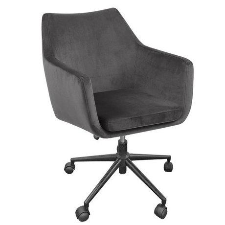 wonenmetlef Bureaustoel Mia donker grijs VIC textiel metaal 58x58x95cm