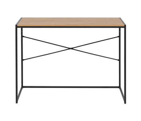 wonenmetlef Desk Emmy natural brown black oak wood 100x45x75cm