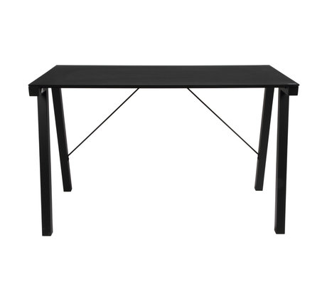 wonenmetlef Desk Ray black glass metal 125x65x77.5cm