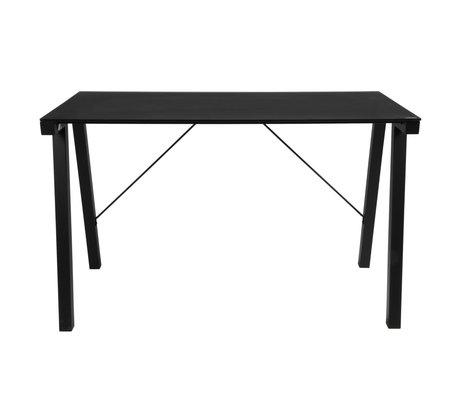 wonenmetlef Desk Ray black glass metal 125x65x77.5cm
