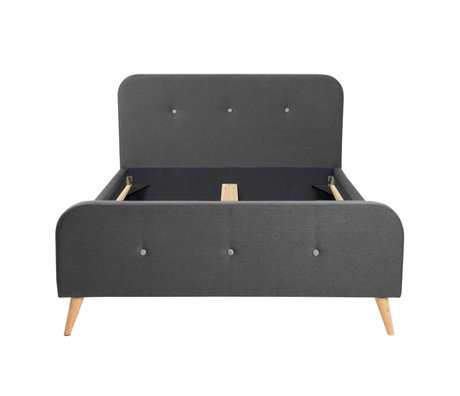 wonenmetlef Double bed Tommie dark gray Town textile wood 140x200cm