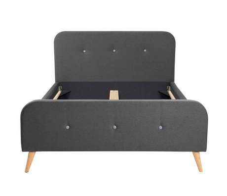 wonenmetlef Double bed Tommie dark gray Town textile wood 180x200cm