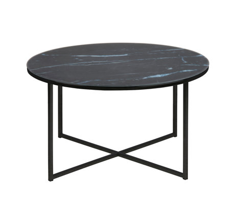 wonenmetlef Salontafel Molly marmer zwart glas metaal Ø80x45cm