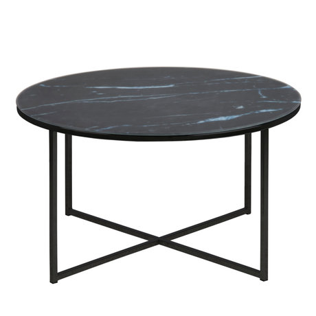 wonenmetlef Table basse Molly en marbre verre noir métal Ø80x45cm
