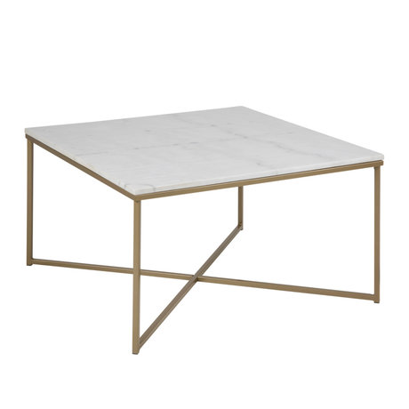 mister FRENKIE Table basse Rosa marbre blanc métal doré 80x80x46cm