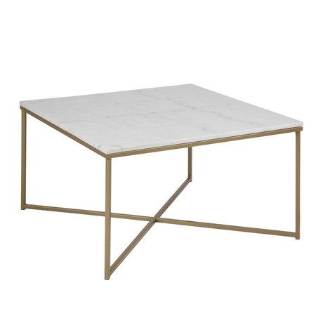 mister FRENKIE Table basse Rosa marbre or blanc verre métal 80x80x46cm