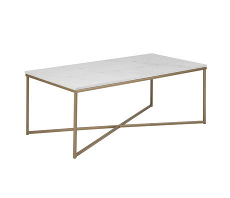 mister FRENKIE Table basse Rosa marbre or blanc métal 120x60x46cm