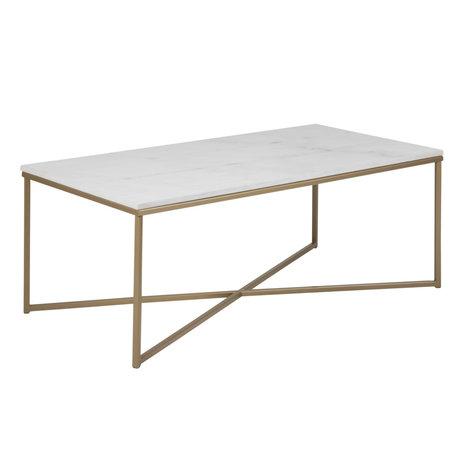 mister FRENKIE Table basse Rosa marbre blanc métal doré 120x60x46cm