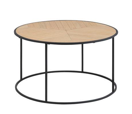wonenmetlef Table basse Frêne naturel brun noir bois métal Ø80x45cm