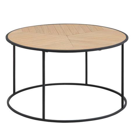 wonenmetlef Coffee table Ash natural brown black wood metal Ø80x45cm