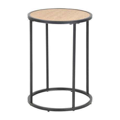 wonenmetlef Table d'appoint Jenna naturel brun bois noir métal Ø40x55cm
