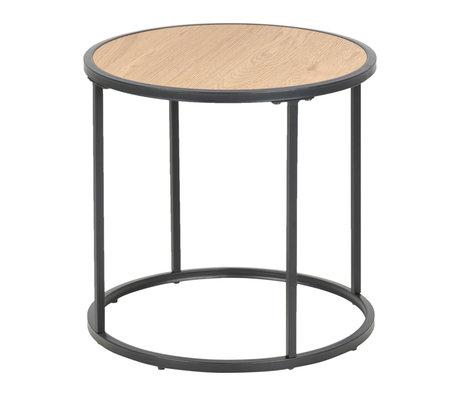 wonenmetlef Table d'appoint Jenna naturel brun bois noir métal Ø45x43cm