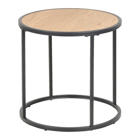 wonenmetlef Side table Jenna natural brown black wood metal Ø45x43cm